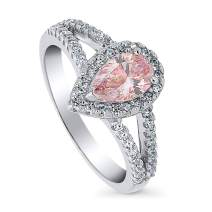 BERRICLE Rhodium Plated Sterling Silver Halo Promise Engagement Split Shank Ring Made with Swarovski Zirconia Morganite Color Pear Cut 1.15 CTW