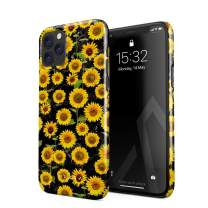 BURGA Phone Case Compatible with iPhone 11 PRO - Yellow Sunflowers Vinatge Flowers Floral Print Pattern Fashion Designer Cute Case for Women Thin Design Durable Hard Plastic Protective Case