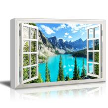 Window View Landscape with Blue Lake and Trees in Mountains Gallery 32x48 inches