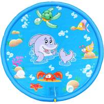 BATTOP Splash Play Mat 68in-Diameter Outdoor Water Play Sprinklers Summer Fun Backyard Play for Infants Toddlers and Kids(Blue)