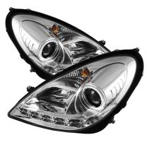 Spyder Auto PRO-YD-MBSLK05-HID-DRL-C Mercedes Benz R171 SLK Chrome HID Type DRL LED Projector Headlight