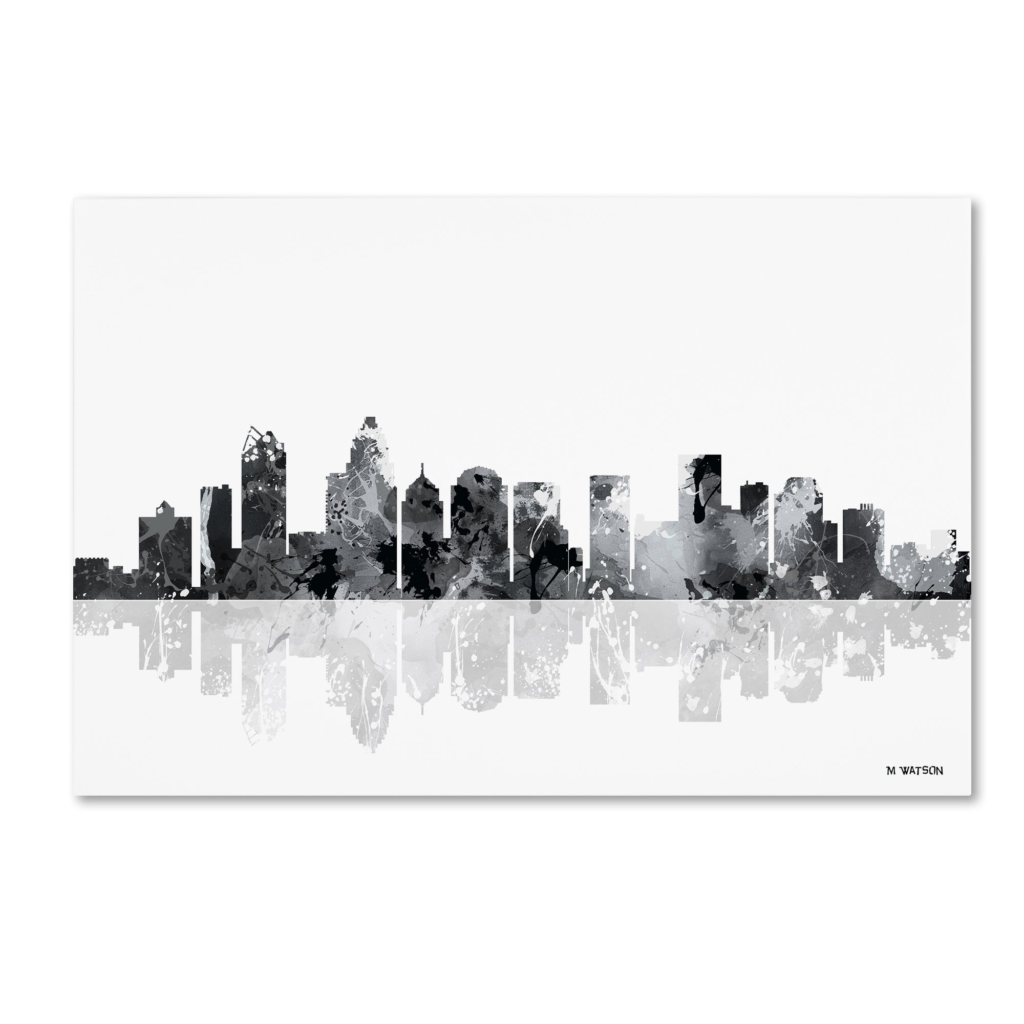 Charlotte NC Skyline BG-1 by Marlene Watson, 30x47-Inch Canvas Wall Art