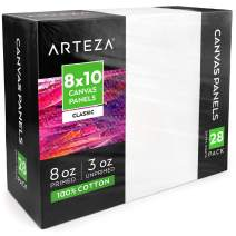 """Arteza 8x10"""" White Blank Canvas Panels Boards, Bulk Pack of 28, Primed, 100% Cotton for Acrylic Painting, Oil Paint & Wet Art Media, Canvases for Professional Artist, Hobby Painters & Beginners"""