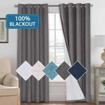 H.VERSAILTEX 100% Blackout Curtains Window Treatment Grommet Linen Like Primitive Thermal Insulated Grey Curtains with White Backing (2 Panels Set), 52 by 84 Inch