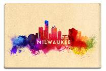 Lantern Press Milwaukee, Wisconsin - Skyline Abstract 57460 (6x9 Aluminum Wall Sign, Wall Decor Ready to Hang)