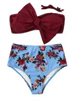 SweatyRocks Women's Swimwear Set Bow Bikini Top Floral High Waisted Swimsuits