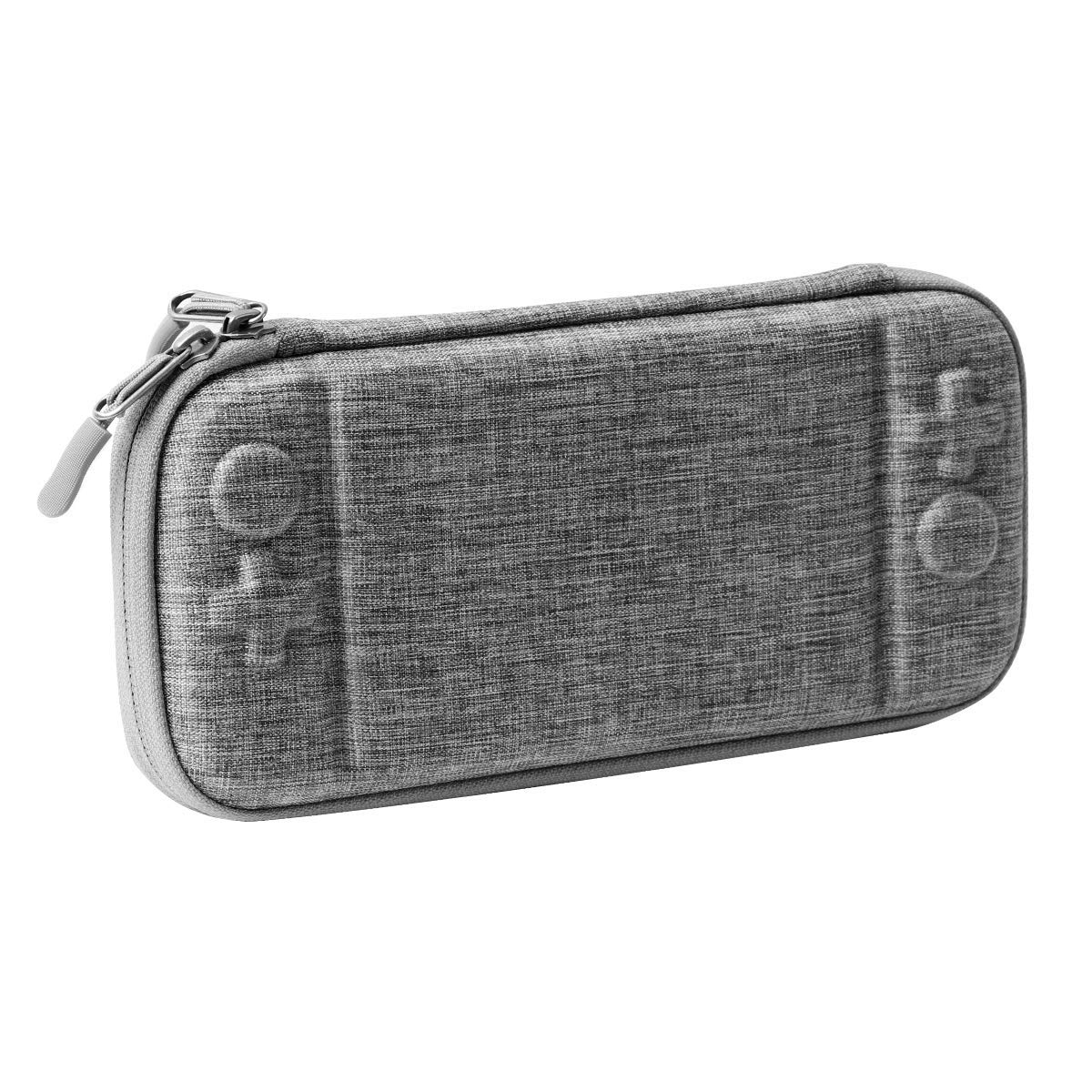 Rayvol Slim Carrying Case for Nintendo Switch, Ultra Slim Hard Shell with 10 Game Cartridges, Protective Carrying Case for Travel, Portable Pouch with Military Level Protection, Gray