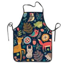 NVJUI JUFOPL Cooking Kitchen Baking Gardening Haircut Cute Apron Funny Bib Aprons for Women Men Chef - Forest Animals Birds and Trees