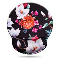 Floral Mouse Pad with Wrist Support, Non-Slip Memory Foam Mouse Pad Mat with Wrist Rest Easy Typing& Pain Relief, Flower Wrist Pad for Office, Gaming, Laptop, Computer, Mac, Speedy and High Precision