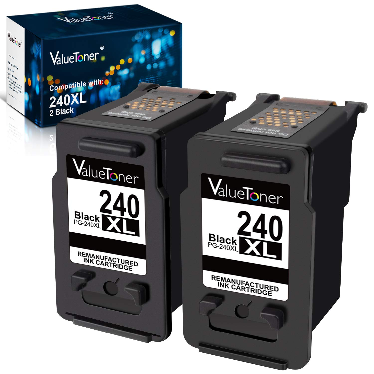 Valuetoner Remanufactured Ink Cartridge Replacement for Canon PG-240XL 240 XL for TS5120 Pixma MG3620 MX532 MG2120 MG2220 MG3120 MG3122 MG3220 MG3222 MG3520 MX432 MX452 MX512 High Yield (2 Black)