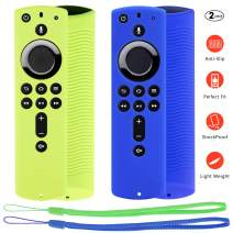 [2 Pack] Firestick Silicone Protective Case Compatible with Fire TV Stick 4K Alexa Voice Remote Control, Lightweight Anti Slip Shockproof Firetv Remote Cover (Green and Blue)