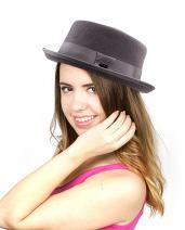 NYFASHION101 Women's Wool Felt Solid Color Band Accent Classic Porkpie Hat