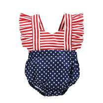 YOUNGER TREE Independence Day Outfits Baby Girls Stars Stripes Romper Pleated Lace-up Bodysuit Playsuit Clothes 4th of July