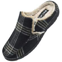 ONCAI Men's-Memory-Foam-House-Slippers-Winter-Clog-Slipper Comfort Soft Cotton-Blend Slip-on Tweed Moccasin Indoor and Outdoor Anti-Skidding Plaid Mules Slippers for Men with Arch Support