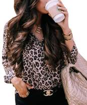 Women's Casual V Neck Leopard Print Tops Basic Tunic Long Sleeve Button Down Cheetah Shirt Blouses