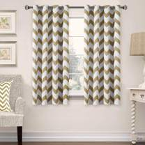 """Taupe Chevron Blackout Curtains for Bedroom Living Room, Thermal Insulated Blackout Window Treatment, Noise Reducing Grommet Top Curtain Panels (52"""" W x 63"""" L, 2 Panel, Taupe)"""