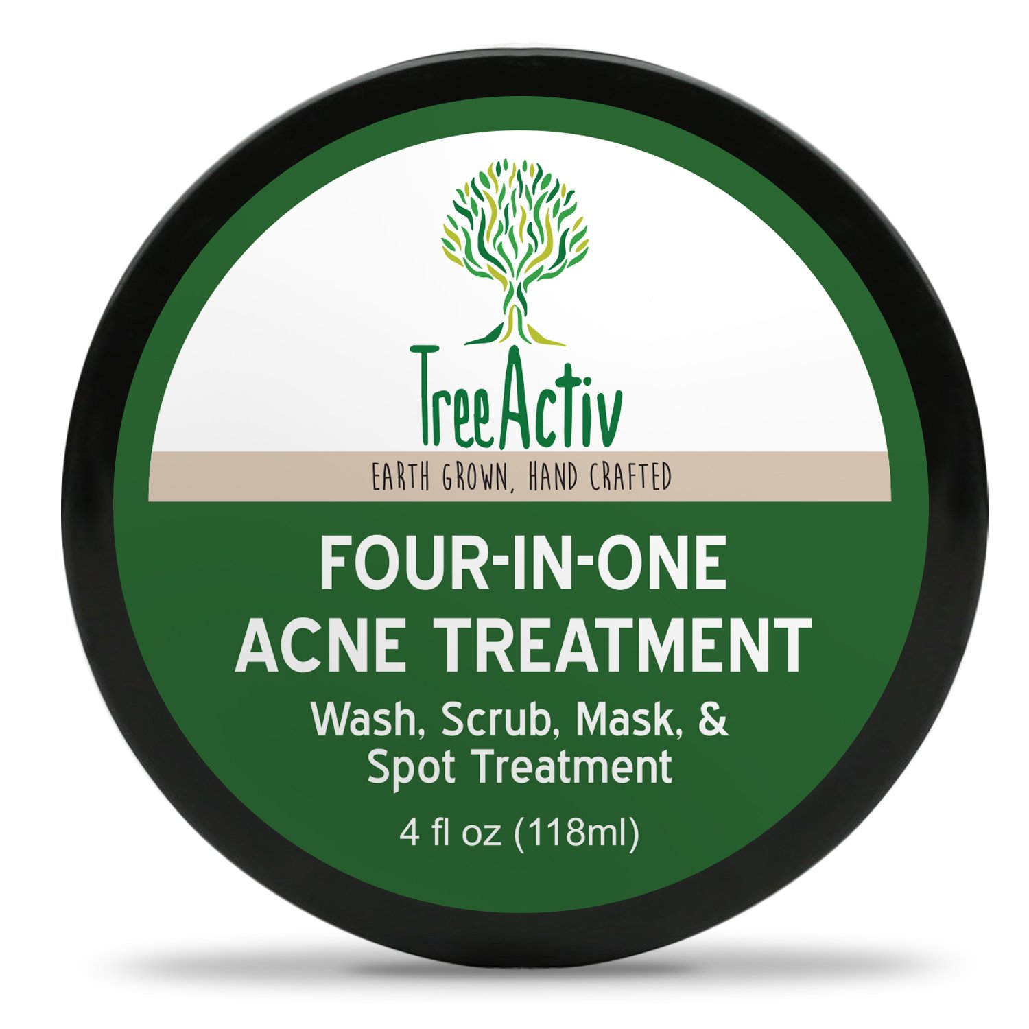 TreeActiv Four-in-One Acne Treatment, Wash, Scrub, Mask, and Spot Treatment, Heals Rosacea, Exfoliating Sugar, Face or Body, Natural Sulfur Clear Skin Cleanser, Bentonite (4 Oz)