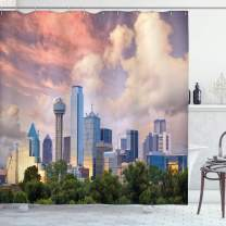"""Ambesonne United States Shower Curtain, Dallas City Skyline at Sunset Clouds Texas Highrise Skyscrapers Landmark, Cloth Fabric Bathroom Decor Set with Hooks, 84"""" Long Extra, Blue Lavender"""