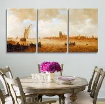 """wall26 3 Panel World Famous Painting Reproduction on Canvas Wall Art - View of Dordrecht with The Grote Kirk Across The Maas by Van Goyen - Modern Home Decor Ready to Hang - 16""""x24"""" x 3 Panels"""