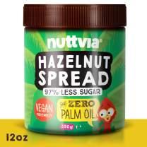 Nuttvia Hazelnut Chocolate Spread | Vegan Hazelnut Spread with 97% Less Sugar | Healthy Nut Butter Naturally Sweetened With Stevia | Low Sugar Chocolate & Dairy Free Spread (12 oz)