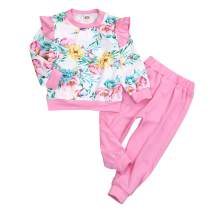 Toddler Baby Little Girls Floral Outfit Ruffled Sleeve Zipper Sweatshirt Top + Pants 2Pcs Fall Winter Clothes Set