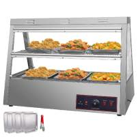 VEVOR 110V 43-Inch Commercial Food Warmer Display 2-Tier 1600W Electric Countertop Food Warmer Display 86-185℉ Pastry Display Case with 6Trays & 1 Bread Tong for Buffet Restaurant Hamburger Pizza