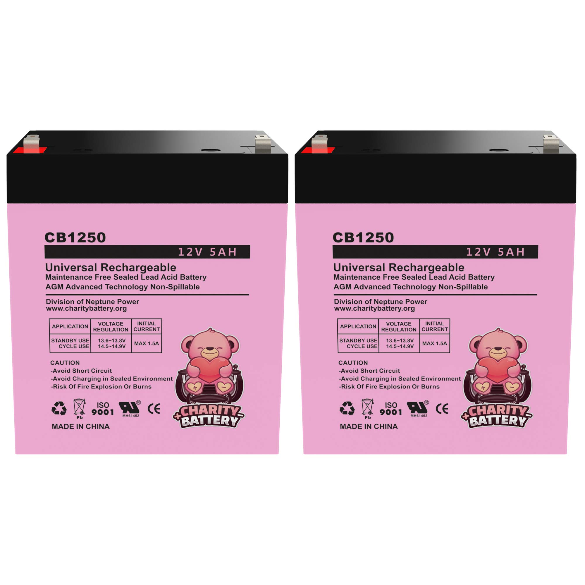 Charity Battery 12V 5Ah CB1250 Rechargeable SLA Sealed Lead Acid Replacement Battery - 2 Pack