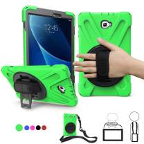 Samsung SM-T580 Case 2016, Galaxy Tab A 10.1 Case,Heavy Duty Rugged Corner Protection Anti-Slip Kids Friendly Case with 360 Rotating Stand,Hand/Neck Strap for Boys,Girls,Students,Teachers,2018,Green