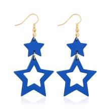 Jagucho Leather Star Earrings Dangle for Women, Lightweight Handmade Earrings Drop for Teen Girls, Gifts for Women