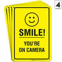 Smile You're on Camera Sign - (4 Pack) - Video Surveillance Sign   10x7 Inches,Rust Free 0.40 Aluminum, Fade Resistant, Indoor/Outdoor Use, Made in USA by SIGO SIGNS