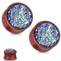 MoBody One Pair Natural Wood Druzy Stone Jeweled Double Flared Ear Tunnel Expander Stretching Plug 2G-16mm
