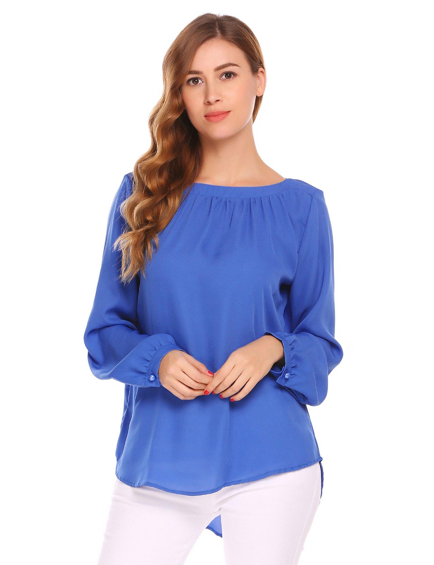Zeagoo Women's Long Sleeve Solid Crew Neck Pleated Chiffon Blouse Tunic Shirt Tops