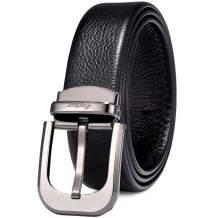 Men's Belt, CARDANRO Men Genuine Leather Dress Belt with Single Prong Buckle, Elegant Gift Box