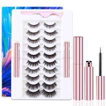 EARLLER 10 Pairs Magnetic Eyelashes with Eyeliner Kit, Natural Look False Lashes with Applicator - Easy to Apply and No Glue Needed, 3D & 5D Reusable Short and Long Eyelashes Set