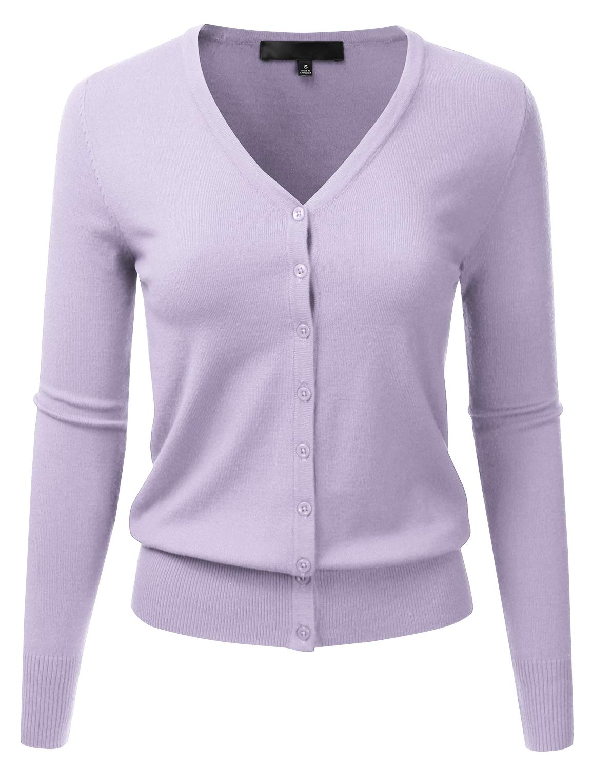 EIMIN Women's Button Down V-Neck Long Sleeve Soft Knit Cardigan Sweater (S-XL)