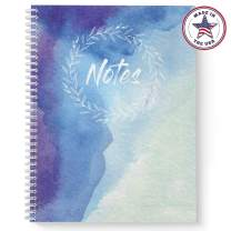 "Softcover Watercolor Notes 8.5"" x 11"" Spiral Notebook/Journal, 120 College Ruled Pages, Durable Gloss Laminated Cover, White Wire-o Spiral. Made in the USA"
