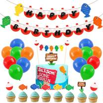 70 Pack Gone Fishing Happy Birthday Party Kits Little Fisherman The Big One Banner Cake Topper Cupcake Topper Balloons Decorations Kids Photo Props Summer Reel Fun Ideas Supplies