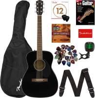 Fender CC-60S Concert Acoustic Guitar - Black Bundle with Gig Bag, Tuner, Strap, Strings, Picks, Fender Play Online Lessons, Instructional Book, and Austin Bazaar Instructional DVD