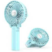 FUNME Mini Handheld Fan, 3 Speed Adjustable Personal Portable Fan 2600mAh Rechargeable Battery Operated USB Table Fan Cooling Foldable for Outdoor Hiking Travel Office Household, Green
