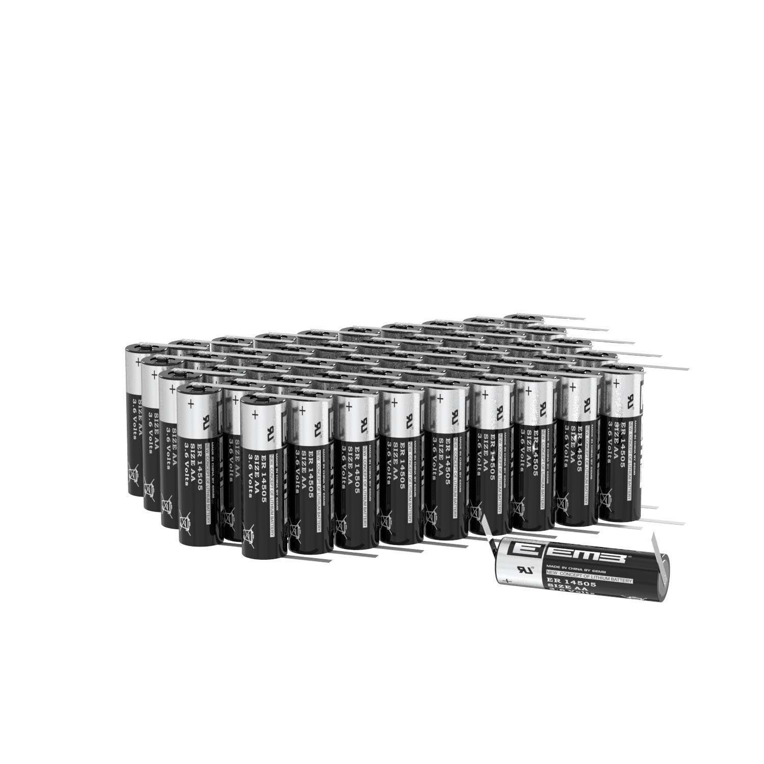 EEMB 3.6V AA Lithium Battery with Tabs ER14505 2600mAh High Capacity Li-SOCl2 Non Rechargeable UL Certified 3.6Volt Lithium Thionyl Chloride Batteries (50)