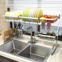 """Over Sink(33"""") Dish Drying Rack, 2 Cutlery Holders Drainer Shelf for Kitchen Supplies Storage Counter Organizer Stainless Steel Display- Kitchen Space Save Must Have (Sink size≤33 1/2 inch, silver)"""