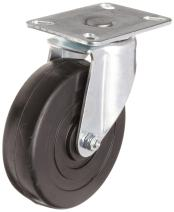 "E.R. Wagner Plate Caster, Swivel, Soft Rubber Wheel, Delrin Bearing, 165 lbs Capacity, 4"" Wheel Dia, 1-1/4"" Wheel Width, 4-11/16"" Mount Height, 3-3/4"" Plate Length, 2-3/4"" Plate Width"