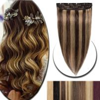 """100% Real Hair Extensions Clip in Remy Human Hair Highlight 24"""" 60g One-piece 5 Clips Long Straight Hair Extensions for Women Wide Weft Soft Silky #4P27 Medium Brown Mix Dark Blonde"""