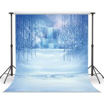 LYWYGG 5x7ft Winter Backdrop Ice and Snow White World Photography Backdrops Background Christmas Winter Frozen Snow Ice Crystal Pendant World Backdrops for Children Photo Studio Props Backdrop CP-13
