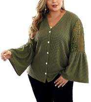 Womens Plus Size V Neck Button Down Lace Tops Waffle Knit Shirts Long Bell Sleeve Tunic