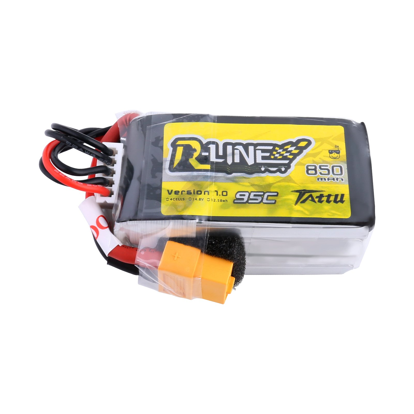 Tattu R-Line 850mAh 14.8V 95C 4S LiPo Battery Pack with XT60 Plug for Multirotor FPV from Size 100 to 180