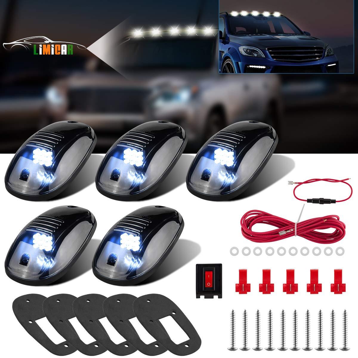 LIMICAR 5PCS Smoke Roof Cab Marker Running Light Covers Top Light White 9 LED Lamp Compatible w/ 03-10 Dodge Ram 1500 2500 3500 4500 5500 2011-2018 Ram 1500 2500 3500 4500 5500 Pickup Trucks