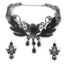 Black Lace Necklace Earrings Set - Gothic Lolita Pendant Choker Clothing Accessories for Wedding Birthday Hallowen Christmas