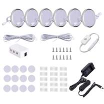 LED Under Cabinet Lighting Kit,6 Pack Linkable Puck Lights for Kitchen Cabinet,Under Counter,Book Case,Accent Display Lighting, with touch dimmable sensor, wall Plug and Manual Switch (6000K Daywhite)