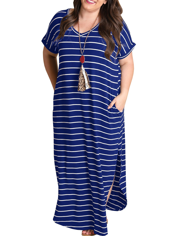 YONYWA Women Plus Size V Neck Striped Maxi Dress Summer Loose Split Tshirt Long Dresses with Pockets